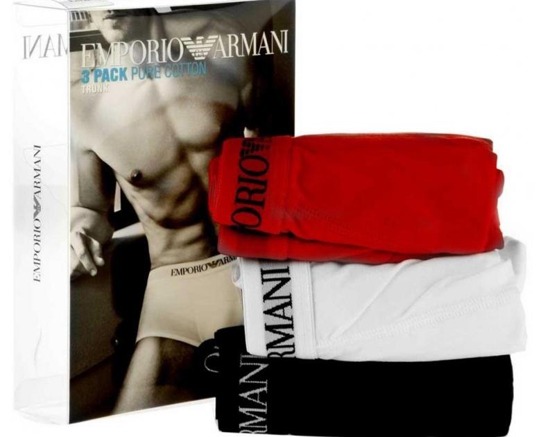 BOXERI ARMANI RANGE BASIC 722 negru alb rosu